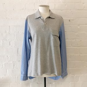 Grey marle front & striped back and sleeves.