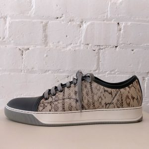 Textured leather sneaker.