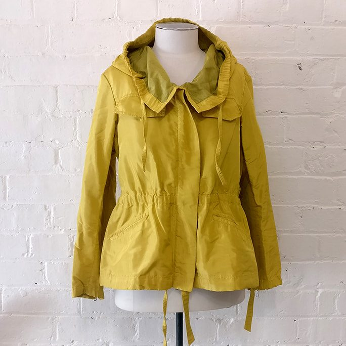 Hooded rain jacket.