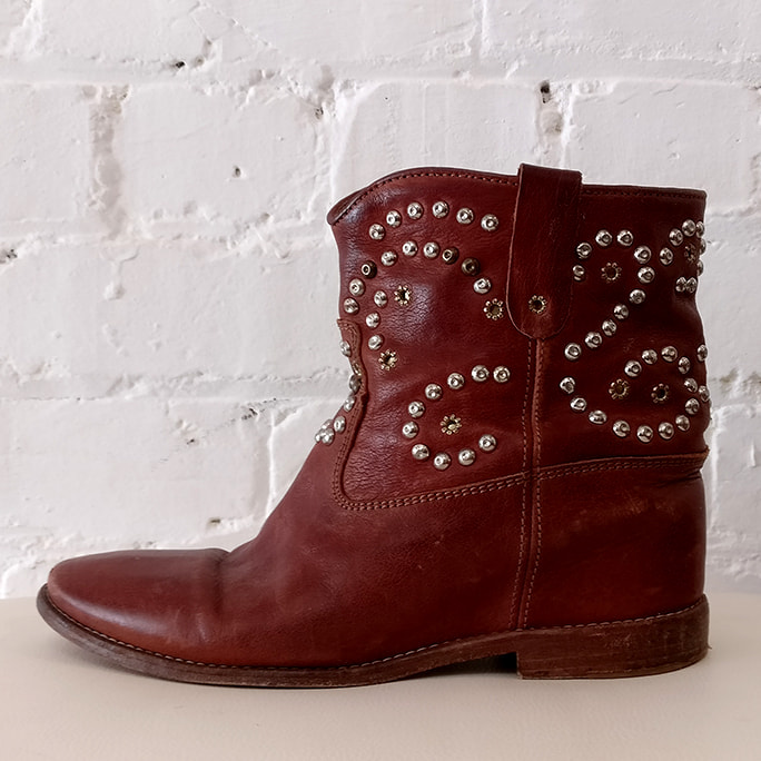 Studded ankle boot, need resoling.