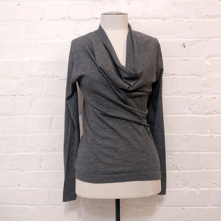 Grey marle cashmere & silk sweater with front gathered detail and cowl neck.