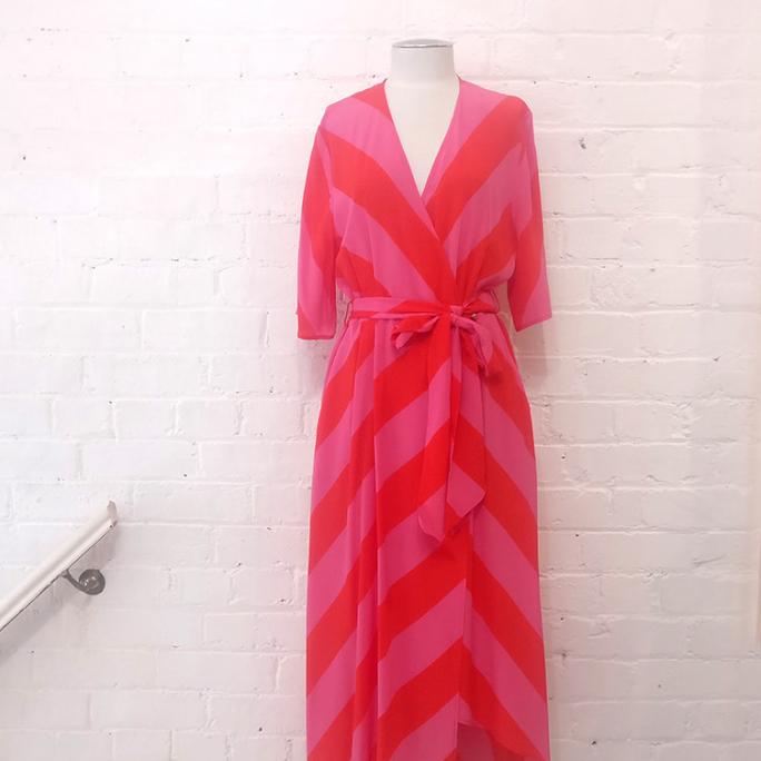 Silk wrap dress, with pockets.