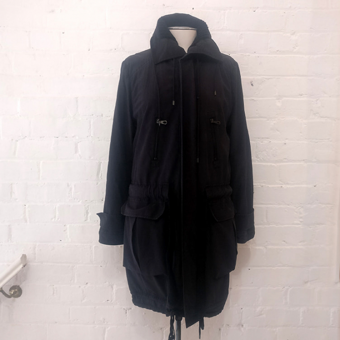 Silk duffel coat with wool inner.