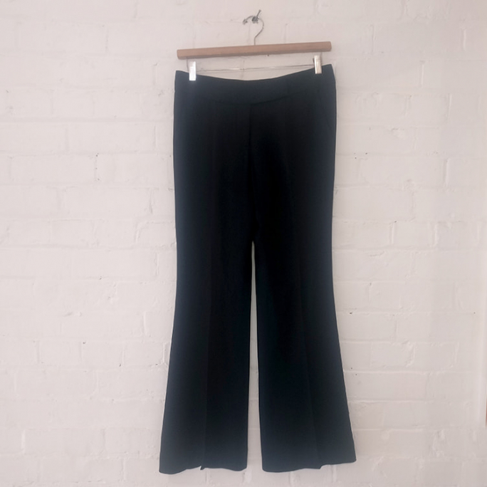 Dark blue wide leg dress pants.