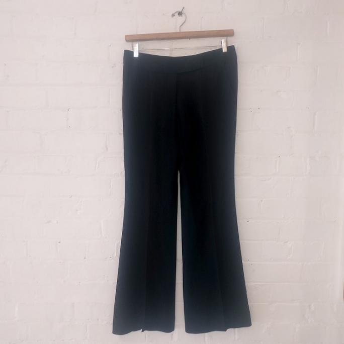 Dark blue wide leg dress pants.