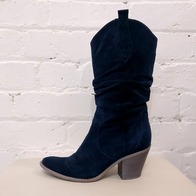 Blue suede boots.