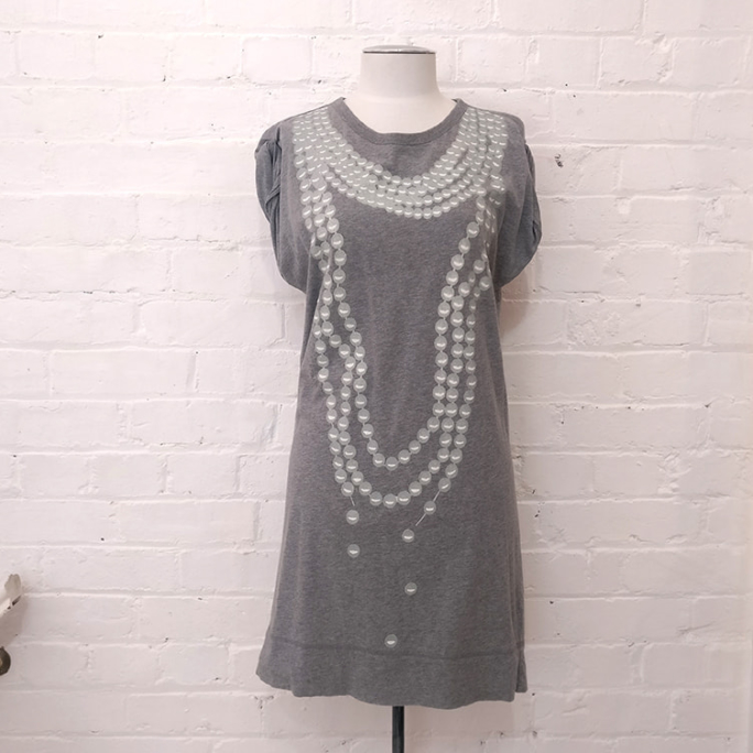 Pearl print cotton t-shirt dress.
