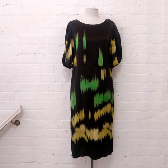 Silk print dress.