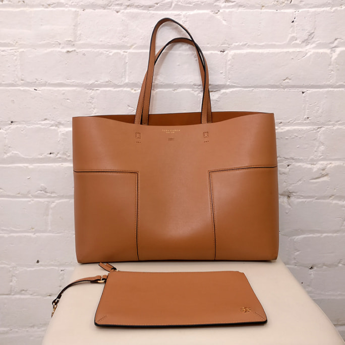 Large leather tote bag, with additional clutch.