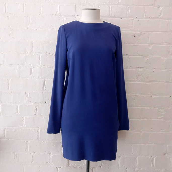 Silk long-sleeve shift dress, lined.