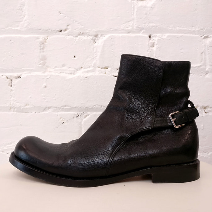 Hobnail-style leather ankle boots.