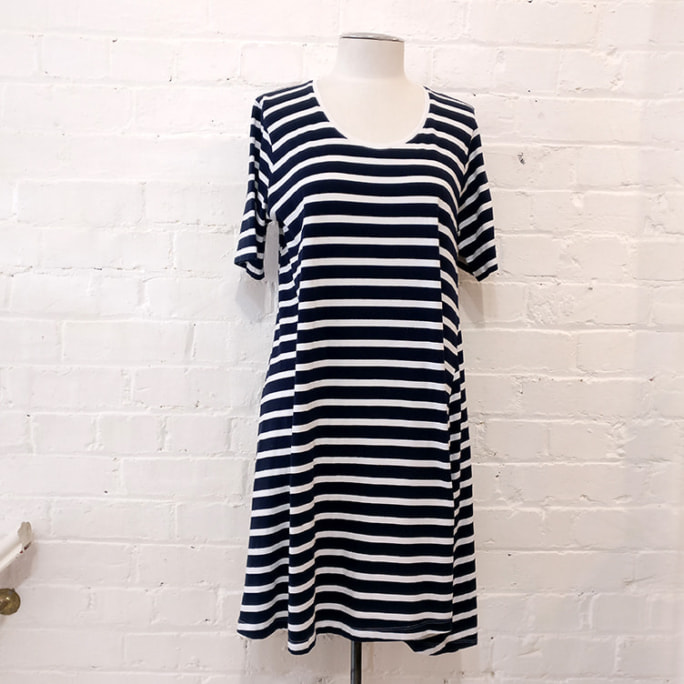 Striped tee-shirt dress.