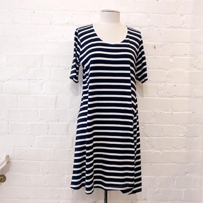 Striped tee-shirt dress.