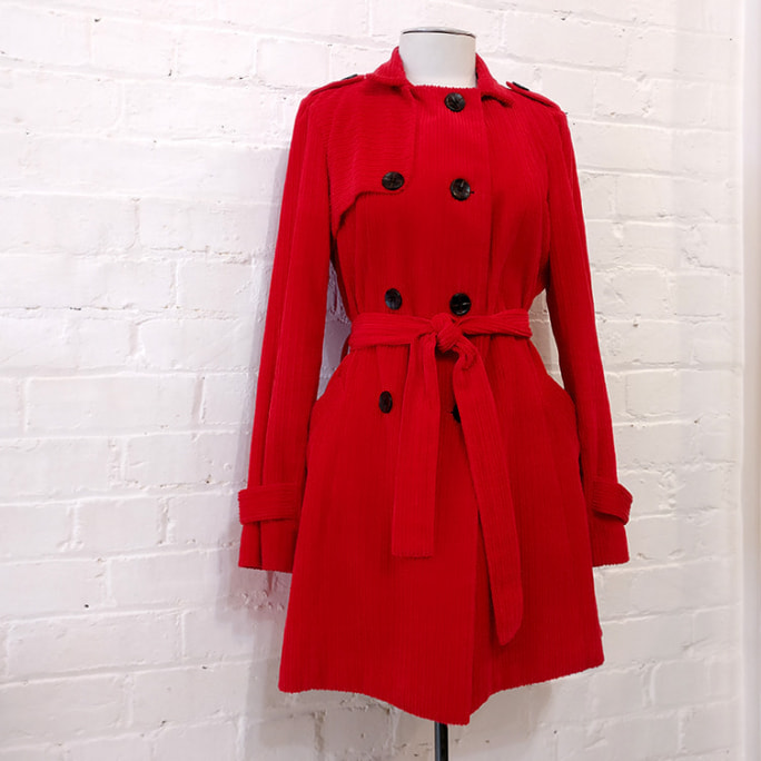 Red heavy corduroy coat, lined.