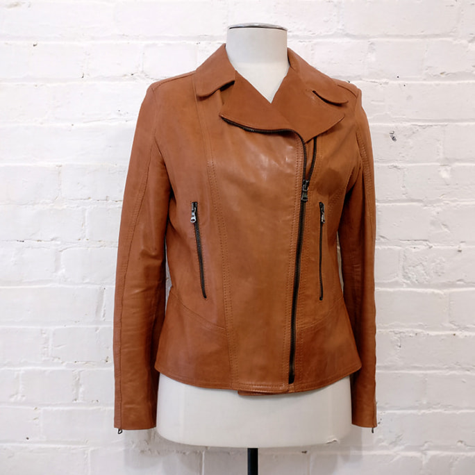 Tan leather biker-style jacket, lined.