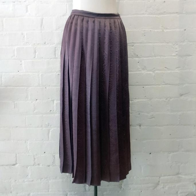 Metallic pleated skirt.