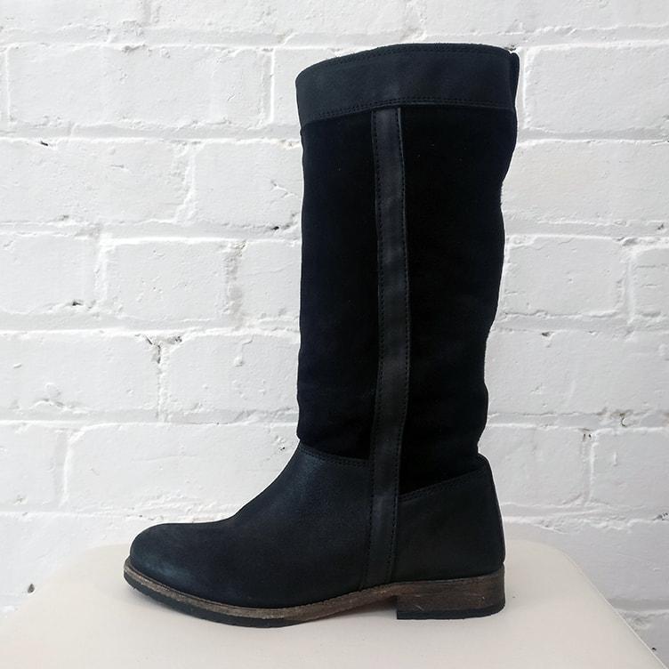 Calf-length boots.