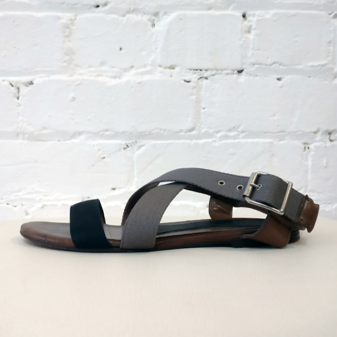 Strappy canvas and leather sandal
