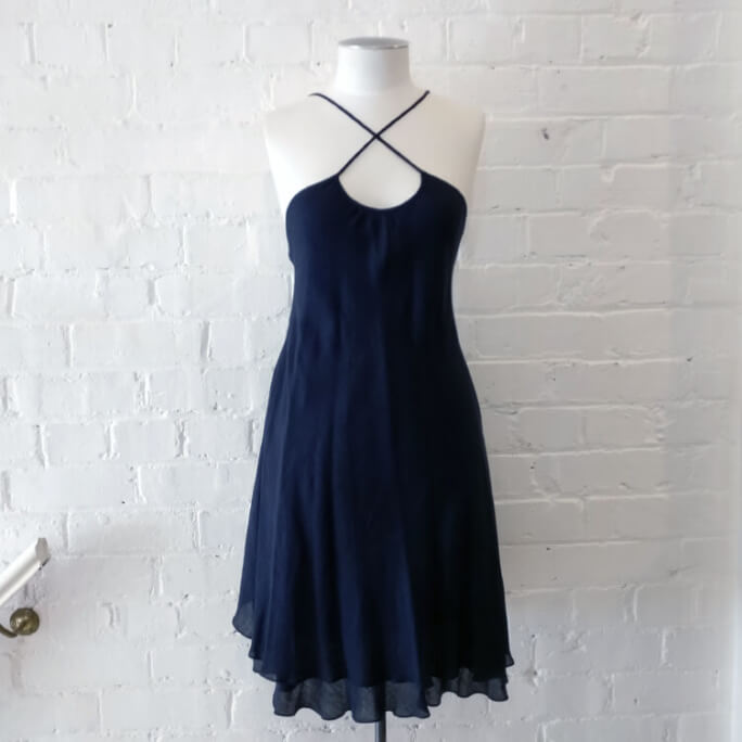 Strappy linen-mix sun dress.