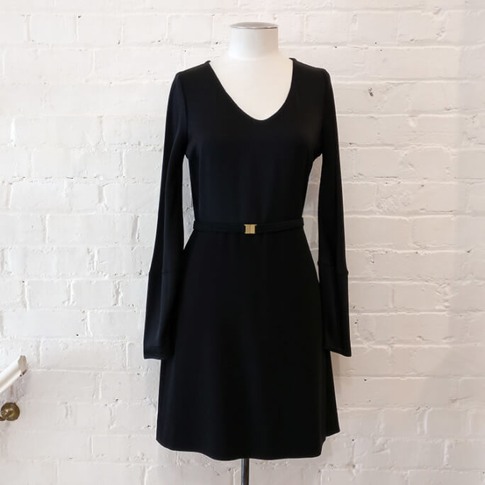 Black dress with belt.