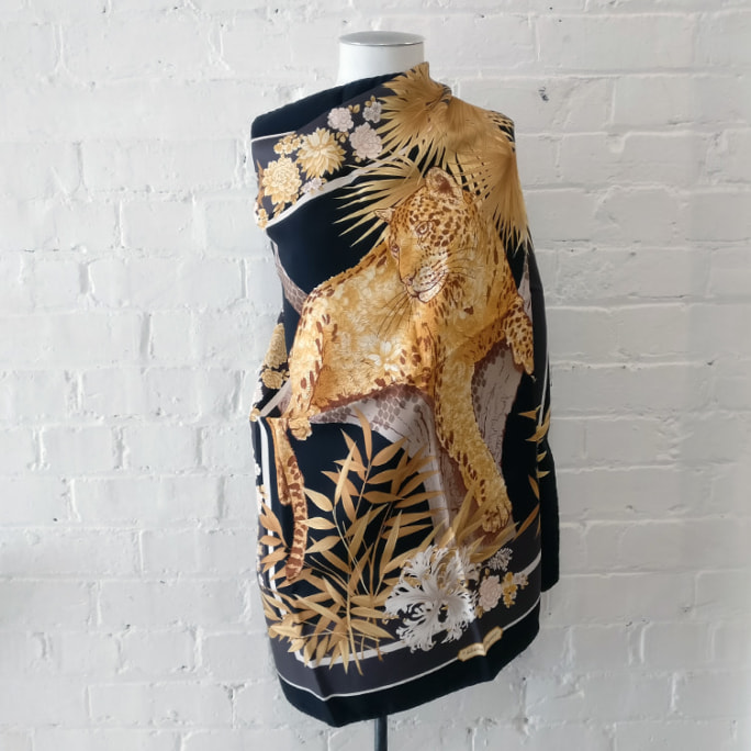 Silk scarf with big cat print and presentation box. Original price tags still on!
