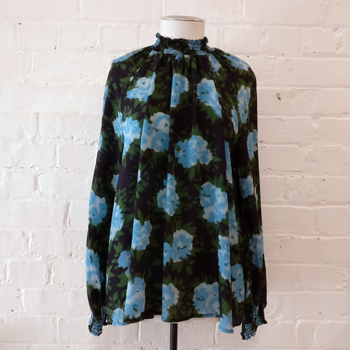Silk top with digital floral print.