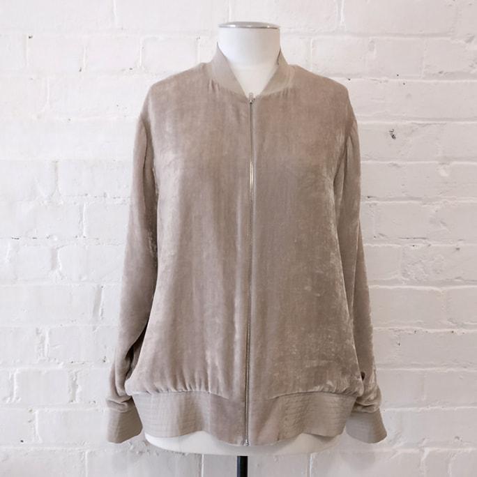 Velvet bomber jacket, lined.