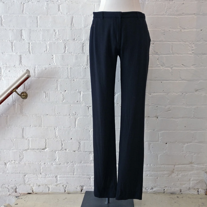 100% fine wool straight leg pants.