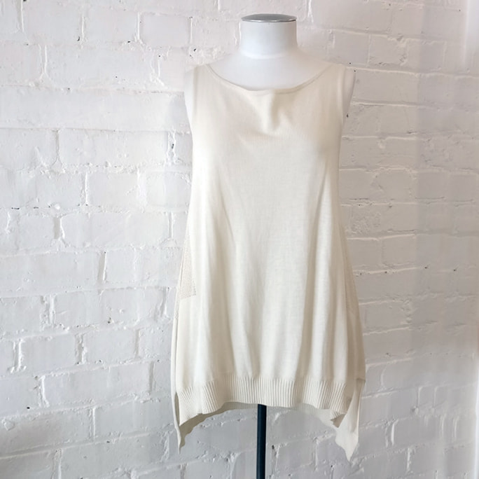 Cream long knitted singlet top.
