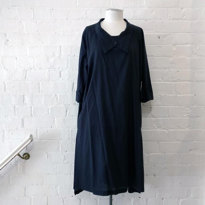 Cotton dress, has pockets.