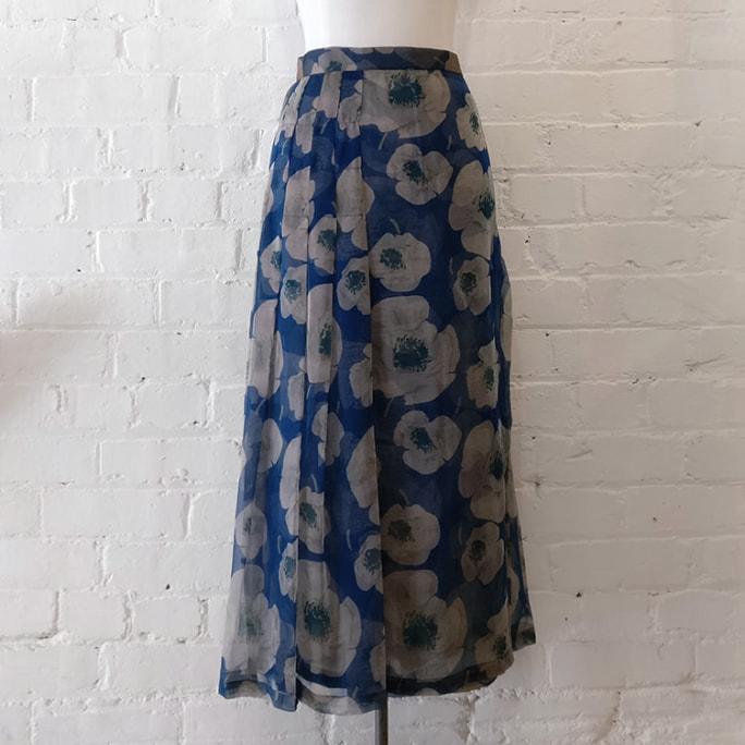 Printed silk wrap skirt.