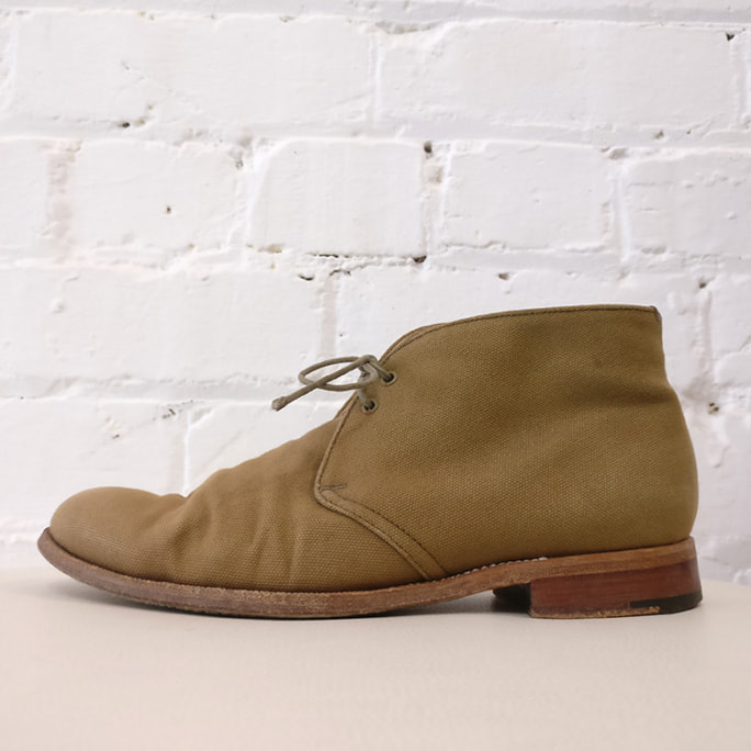 Canvas leather-lined Beverly desert boot, needs re-soling.