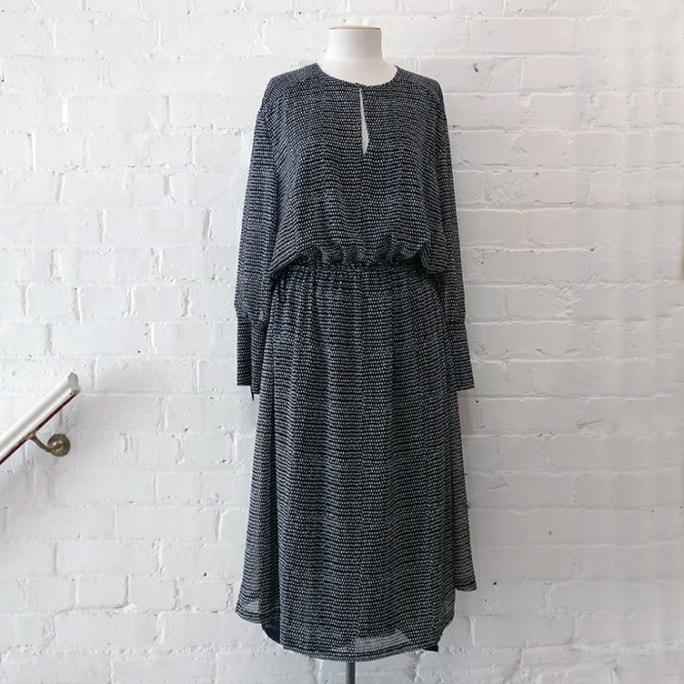 Long sleeve dress with drawstring waist, lined. Unworn, original price tags still on!