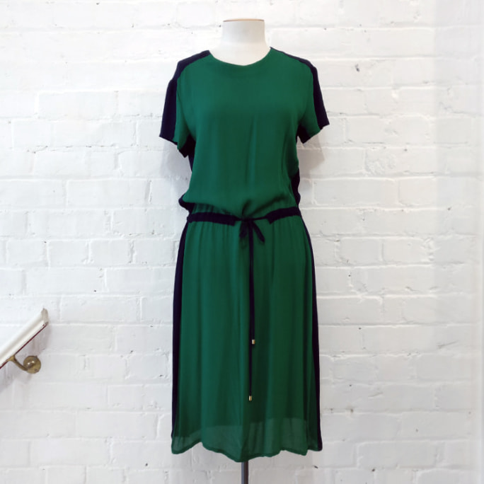 Short sleeve dress with drawstring waist.