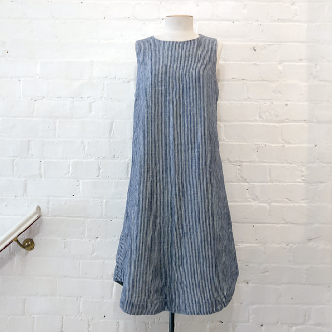 Cotton-lined linen shift dress.