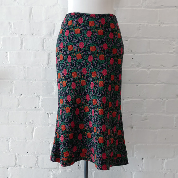 Floral A-line skirt, lined.