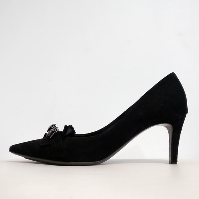 Suede heels with jewelled pin detail.