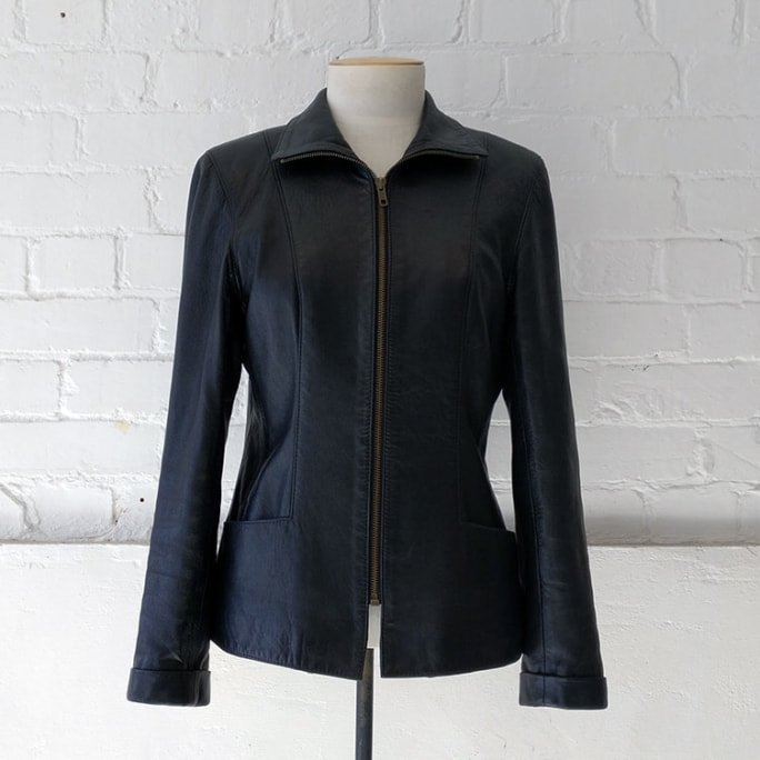 Leather jacket with pockets, fully lined.