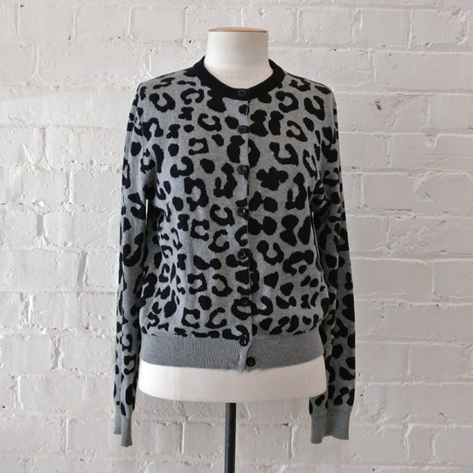 Animal print cotton cardigan.