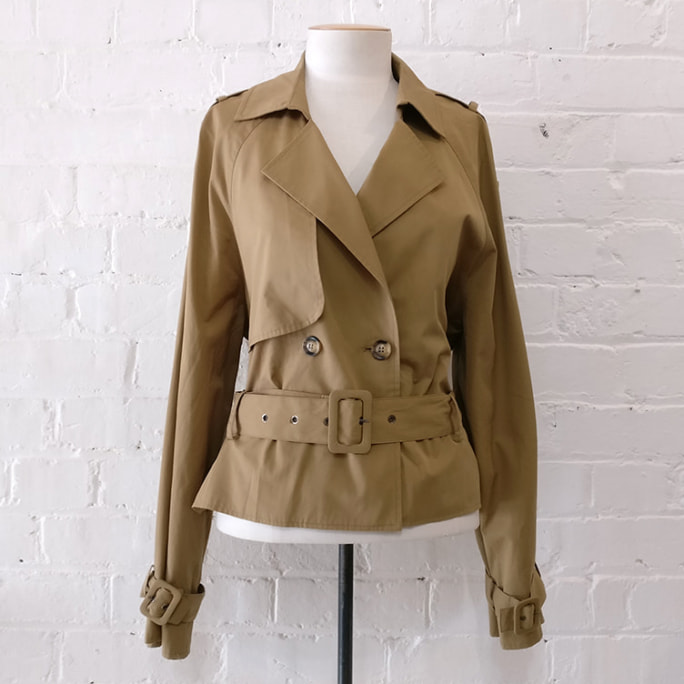 Cropped trench jacket.