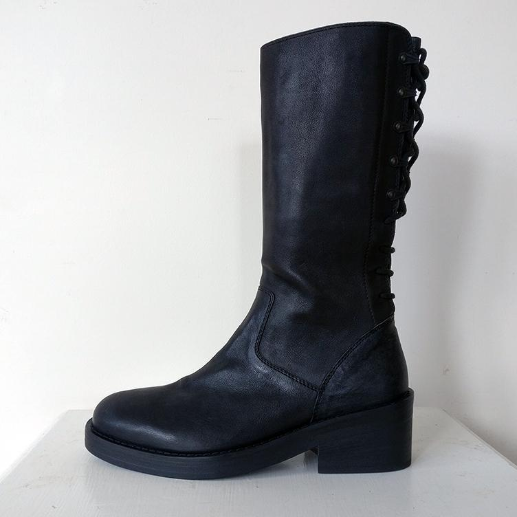 Calf-length boot with lace-up back and inside zip for convenience. Unworn, as new!