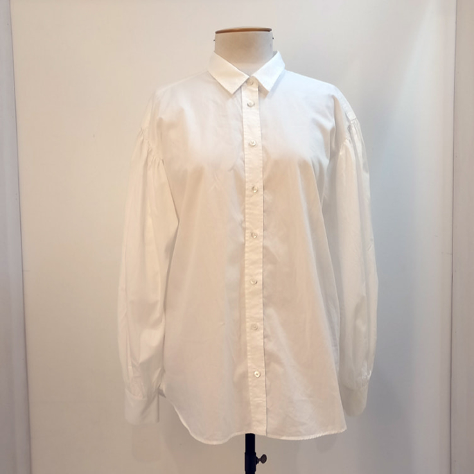 100% cotton white shirt with puff sleeves.