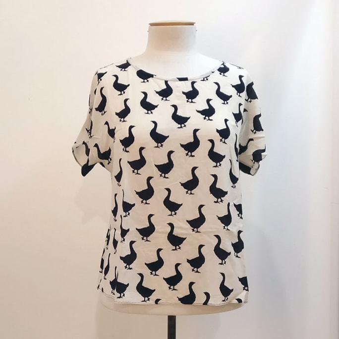 100% silk goose print top.