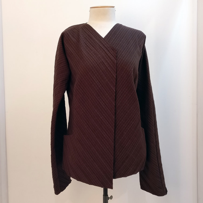 Japanese-style open front shirt with pockets, vintage.