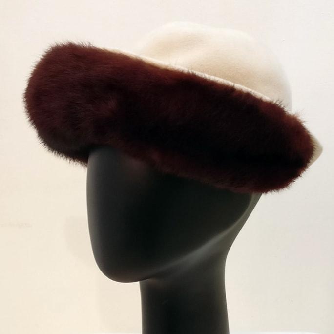 French vintage cream felt hat with fur trim.
