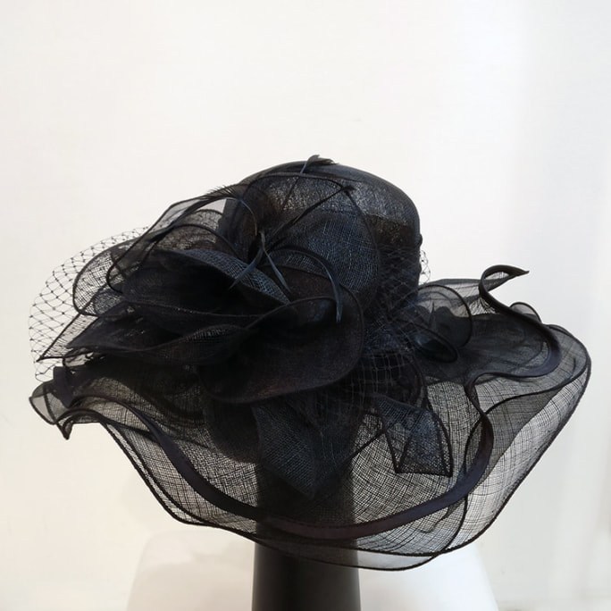 3–layers black summer hat with feathers and net. Original price tag still on, unworn!