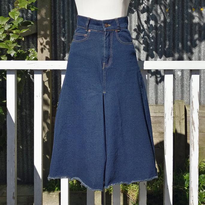 Stretch denim A-line skirt.