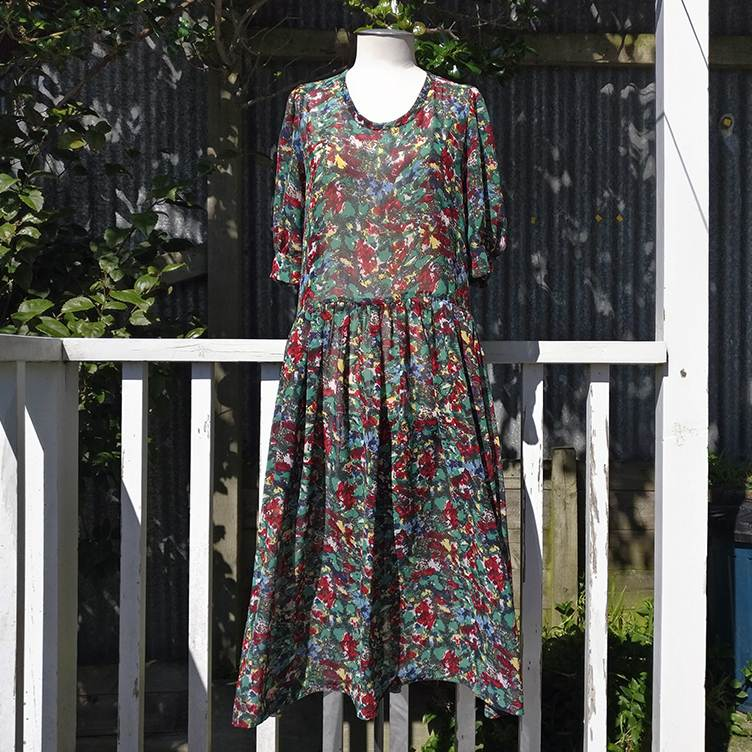 Abstract floral dress with pockets, 1989 vintage.