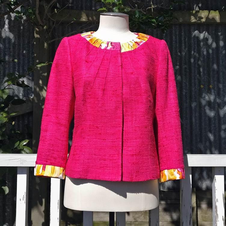 Collarless silk & linen jacket, lined.