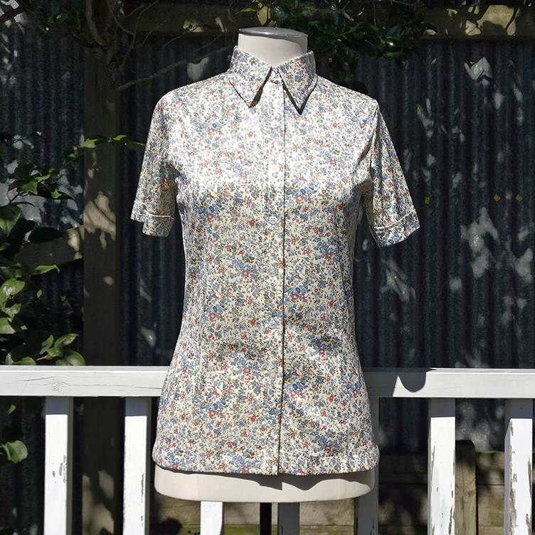 Liberty-esque floral stretch-synthetic shirt, vintage.